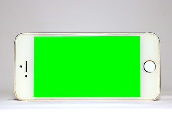 Plantilla de móvil con pantalla en verde