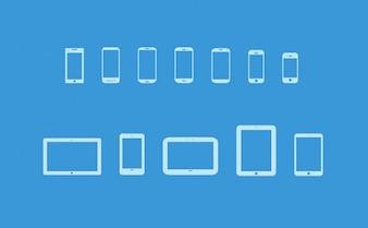 Populares dispositivos móviles icon set