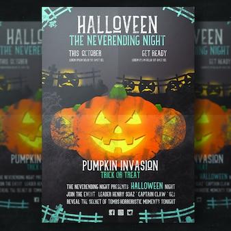 Poster de Halloween com abóbora