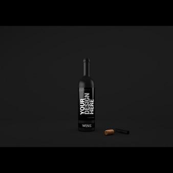 Presentación realista de botella de vino