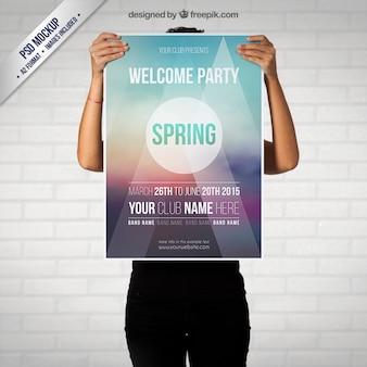 Primavera cartel del partido maqueta