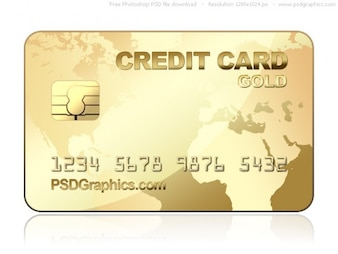 PSD oro plantilla de tarjeta de crédito