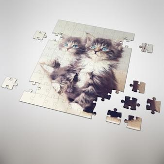 Quebra-cabeça mock up projeto