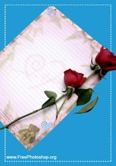 Romântico carta de amor com rosas