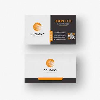 Tarjeta de negocios blanca y negra con detalles naranjas