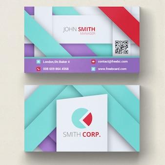 Tarjeta de visita geométricas violeta, azul y roja