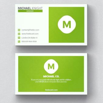 Tarjeta de visita minimalista verde
