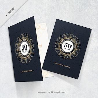 Tarjeta elegante de bodas de oro