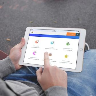 Tela Tablet mock up projeto
