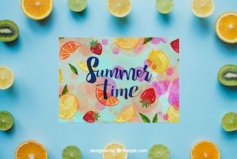 Tema de verão com frutas