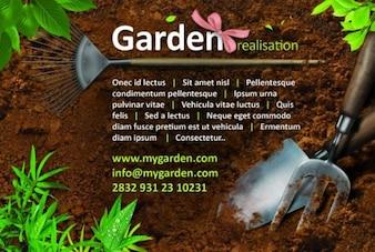 Tema hermoso jardín psd plantilla