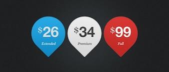 Tres etiquetas de precio de material psd