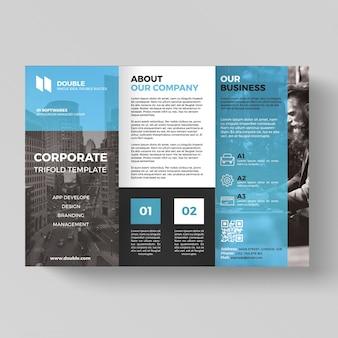 Trifold empresarial azul