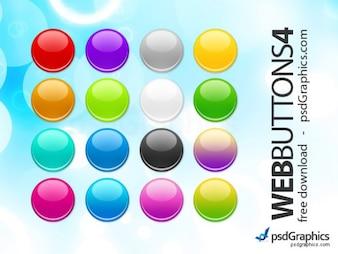 Boutons ronds PSD web mis en