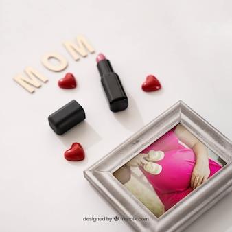 Cadre photo et rouge à lèvres