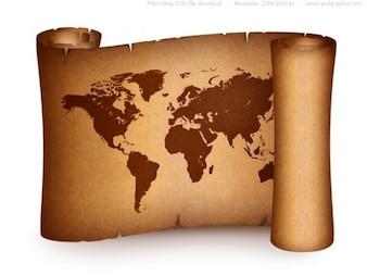 Carte du monde sur le rouleau de papier vieux millésime