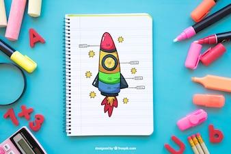 Composition de retour à l'école avec cahier