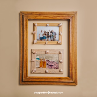 Concept d'été avec cadres en bois