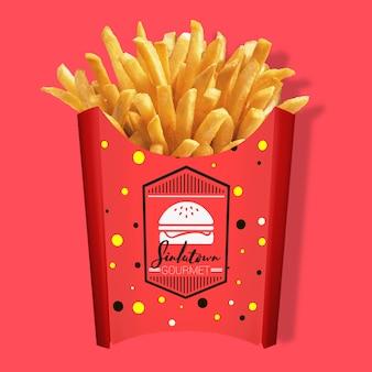Emballage de frites mock up