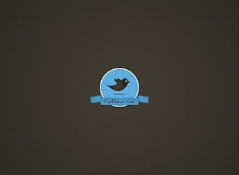Insigne assez rétro twitter simple ruban