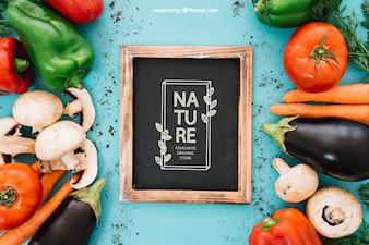 Maquette d'ardoise avec légumes