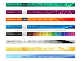 Menus de navigation PSD site web mis en