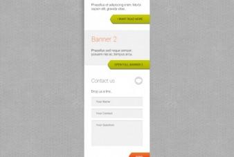 Modèle de bannière avec le formulaire de contact