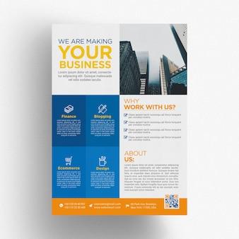 Modèle de brochure commerciale bleue