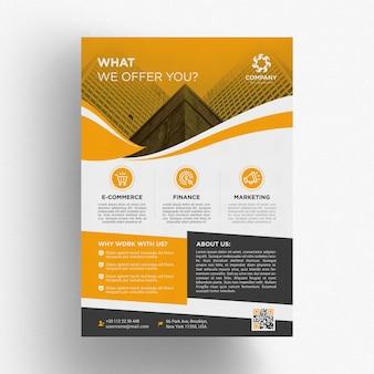 Modèle de brochure commerciale jaune