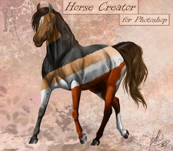 modèle de cheval libre psd