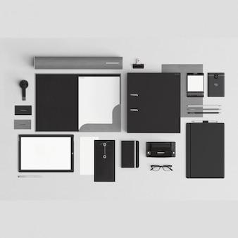 Noir papeterie corporative avec des éléments de bureau