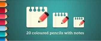 note au crayon de couleurs