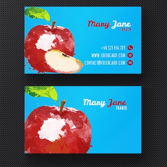 Pomme Aquarelle modèle de carte de visite