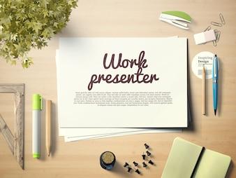 Présentateur de travail sur maquette de bureau