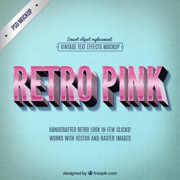 Retro lettrage rose