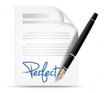 Signature bleu avec un stylo élégant