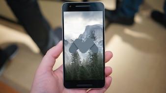 Téléphone portable noir maquette
