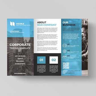 Trifold affaires bleu