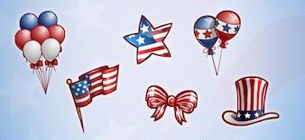 Americano set grafica patriottica