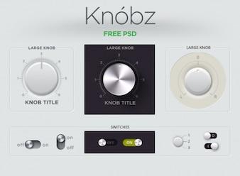 Audio pulsante gui kit di interfaccia manopola knobz interruttore a scorrimento ui ui kit