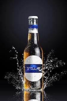 Bottiglia di birra mock up di progettazione
