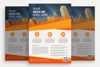 Brochure di business bianco con dettagli arancioni