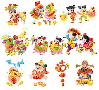 Caratteri orientali. anno del gallo cartone animato di festa