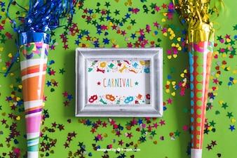 Disegno Carnevale cornice mockup
