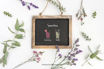 Disegno Slate mockup con piante ornamentali