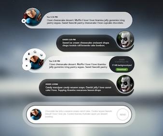 Interfaccia utente mobile chat con avatar