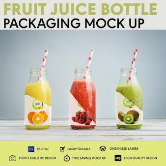 L'imballaggio della bottiglia di spremuta di frutta risalta