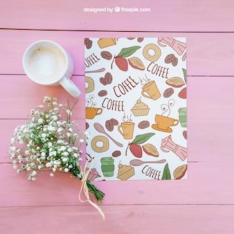 Mockup colazione con caffè e fiori
