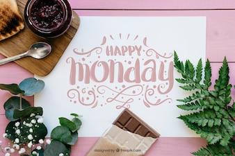 Mockup decorazione lunedì