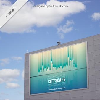 Paesaggio urbano mockup cartellone all'aperto